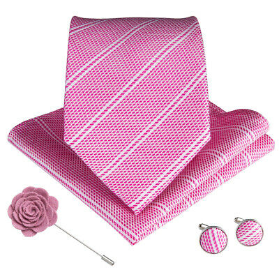 Mens Tie Pink Striped Silk Necktie Set Rose Pins Pocket Square Cufflinks Wedding
