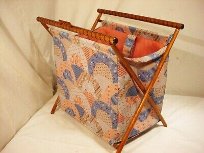 Vtg Folding Wood Frame Basket Caddy Tote Sewing Knitting Yarn Stand Portable