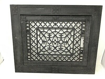 Antique Cast Iron Wall Floor Heating Air Vent Grate Register 2 Pc Hardware