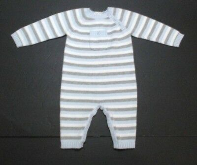 Infant Boys Angel Dear Gray & Blue Striped Sweater Knit Longall Outfit Sz 0-3 M