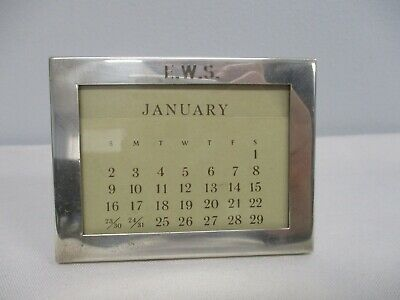 "VTG TIFFANY & CO STERLING SILVER DESK PERPETUAL CALENDAR w CARDS MONOGRAM ""EWS"""