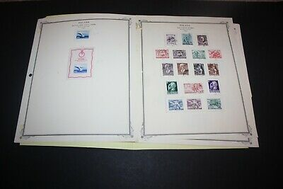 POLAND LOT of 75+ Stamps on Scott Album Pages Includes Airmail Semi Postal