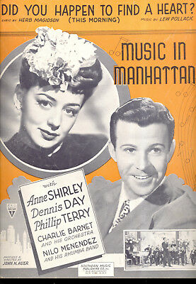 MUSIC IN MANHATTAN 1944 DID YOU HAPPEN TO FIND A HEART Movie