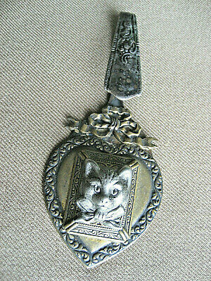Vintage Cat Brooch Medallion Pin Badge With Spoon Steampunk Art Old 306X