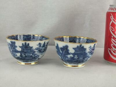 Pair 18Th C Chinese Porcelain Blue And White Landscape Figures Fluted Tea Bowls