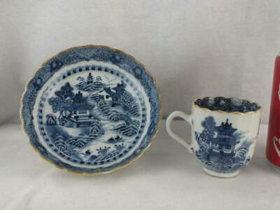 Pair 18Th C Chinese Porcelain Blue And White Landscape Fluted Cup / Can & Saucer