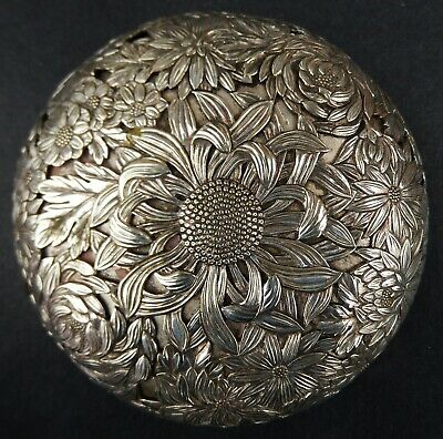 Incredible Quality Antique Japanese Solid Silver Koro Lid; Meiji Era c1880