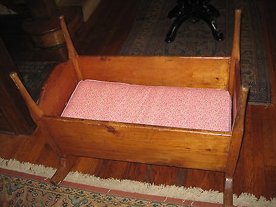 Antique Primitive Cradle Crib Baby/Doll Pine Early 1800's Great Patina Sq Nails