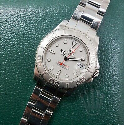 Rolex Yacht-Master Midsize Stainless Steel Platinum Watch 168622 w Box & Papers