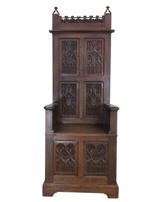 Nice Narrow French Gothic Throne Chair, Tall Back, 19th Century, Oak