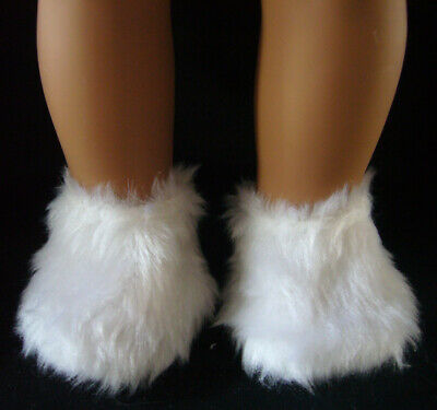 """White Fuzzy Furry Slippers for American Girl 18"""" Doll Clothes"""