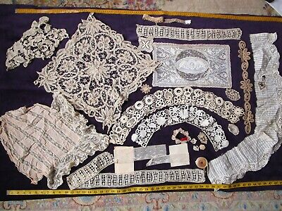 Antique Bobbin Lace machine metallic dress parts Victorian trim collars Irish