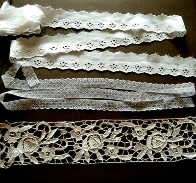 Lot of 3 Assorted old Antique fine trims pure cotton dolls bears some yardage