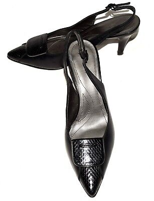 485e228dd18 Tahari FAYE Black Leather with Snake Embossed Trim Slingback Heels Sz 8M