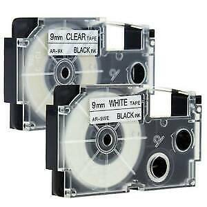 Compatible with Casio XR-9WE XR-9X 2PK  Black on white Label Tape 9mm 1EZ-Serial