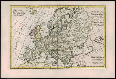 1780 - Original Antique Map of All of EUROPE L'EUROPE by Bonne (47)