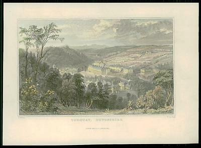 1831 - DEVON Original Antique Print View of TORQUAY Hand Coloured (96)