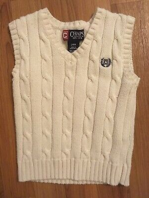 38e14b266 CHAPS BOYS VEST cable knit cotton sweater sizes 5 6 NEW -  15.19 ...