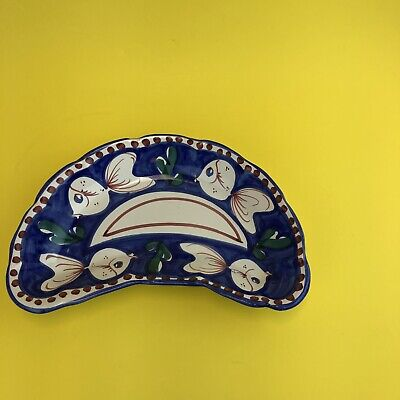 SOLIMENE Vietri Italian Hand Painted Pottery Fish Motif Crescent Shaped Salad