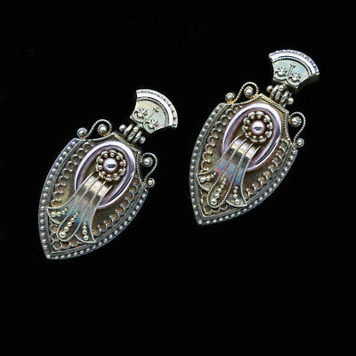 Etruscan Revival Earrings 14k Gold Granulation Filigree Antique Victorian (6428)