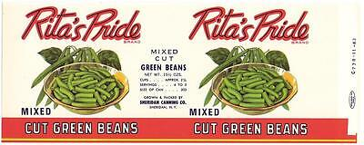 Wholesale Dealer's Lot 25 Rita's Pride Green Beans Can Labels Sheridan, N. Y.