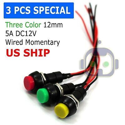 12mm 12V 5Amp Mount Push Button Lockless Momentary ON/OFF Wired Cabled Switch
