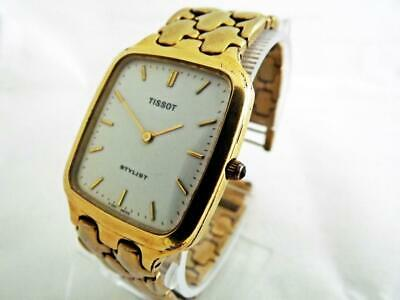 Vintage TISSOT STYLIST Swiss Made  Quartz White Dial Plated Gents Wristwatch