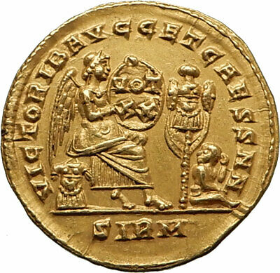 CONSTANTINE I the GREAT Authentic Ancient 320AD GOLD Solidus Roman Coin VICTORY