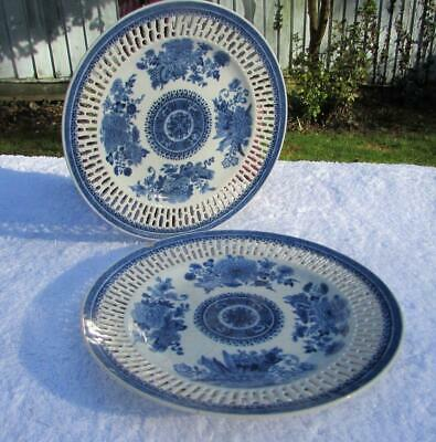 FINE PAIR ANTIQUE CHINESE 18thC RETICULATED B&W PLATES - FITZHUGH PATTERN