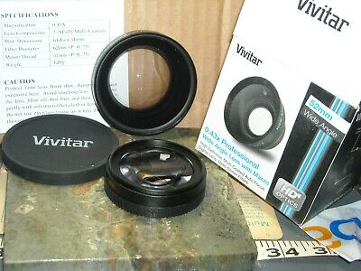 Vivitar 0.43x  52mm professional wide angle lens macro high def multi autofocus