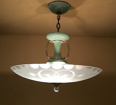 Vintage Lighting rare 1950 green chandelier by Porcelier