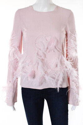 1030ffec909ed8 ZAC Zac Posen Pink Silk Long Sleeve Crew Neck Feather Blouse Top Size 2 New   650