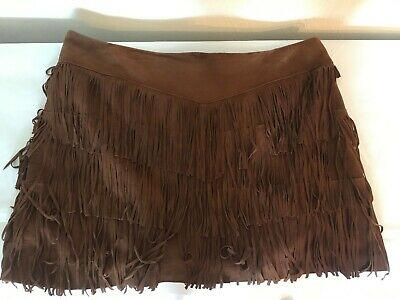 510e345cf6 STETSON WOMENS WESTERN Brown Leather Pig Suede Fringe Skirt Size 14 ...