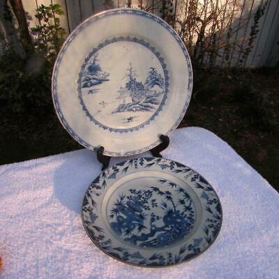 2 NO. ANTIQUE CHINESE 18thC B&W CHARGER PLATES - FINE DECORATION