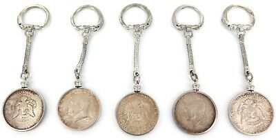 5 x 1964 USA KENNEDY SILVER HALF DOLLAR KEY RINGS.