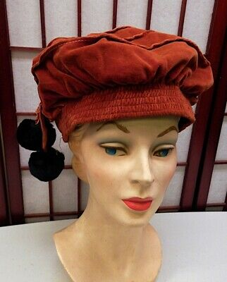 VTG Antique Victorian Orange Velvet Tam-O-Shanter Hat Edwardian