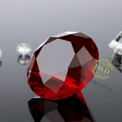 Red Crystal Glass Cut Giant Diamond Jewel Paperweight Wedding Decor Gift 30mm~~