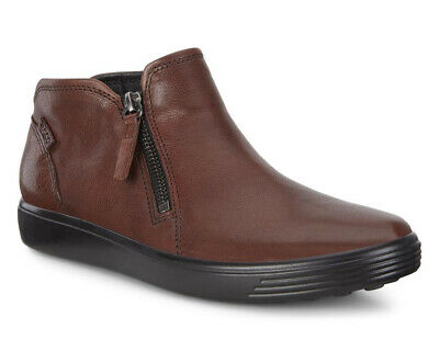 d9f13ccc312c ECCO Womens Cognac Black Soft 7 Low Smooth Leather Casual Bootie Shoe 7 New