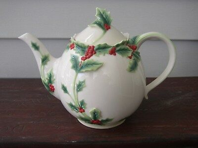Vintage FRANZ Art Porcelain Majolica Pottery China TEAPOT Holly Berries Holiday