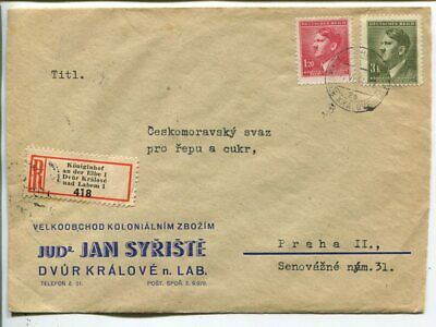 Germany Bohemia and Moravia reg cover, Könjgshof an der Elbe 1944