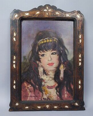Vintage 1940s/50s Signed Framed Middle Eastern Painting of Beautiful Woman
