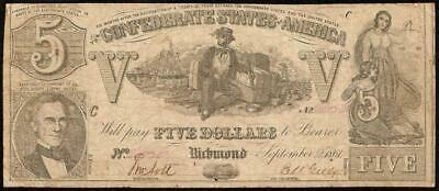 1861 $5 Dollar Confederate States Currency Civil War Note Paper Money T-37