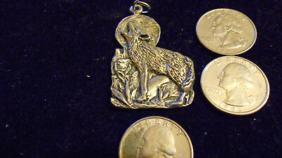bling pewter myth legend pagan WOLF mascot animal pendant charm necklace jewelry