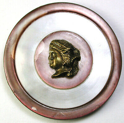 """BB Antique Large Size Shell Button Inset Design wBrass OME Super Nice! 1 & 7/16"""""""