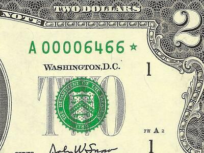 Unc 2003 $2 Two Dollar Bill Low Print 6466 Star Not Only 16K Print  Paper Money