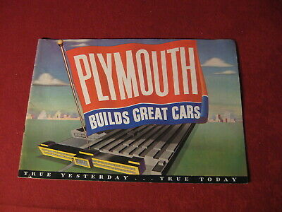 1949 Plymouth Sales Showroom Dealership Brochure Booklet Catalog Old