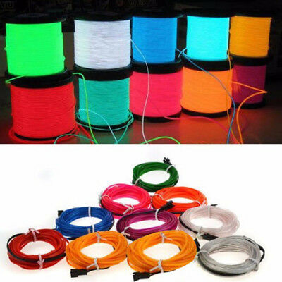2M LED Flexible Neon Light Glow EL Strip Tube Cool Wire Rope Home Car Lamp Decor