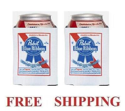Pabst Blue Ribbon Pbr 2 Beer Can Coolers Koozie Coolie Huggie Coozie New