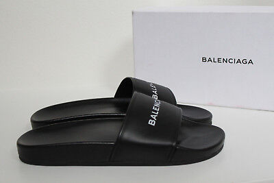 5dafee62f51b sz 9   39 Balenciaga Black Leather Embossed Logo Pool Slide Flat Sandals  Shoes