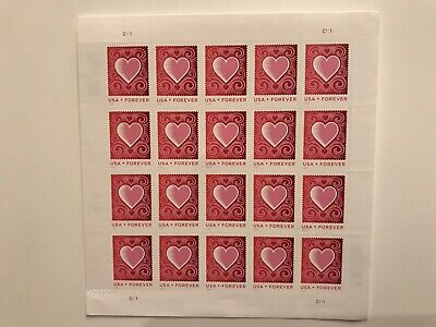 CUT PAPER HEART #4847 FOREVER POSTAGE STAMPS brand new 20 First Class sheet 2014